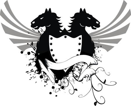 Cheval héraldique armoiries  Banque d'images - 8266070