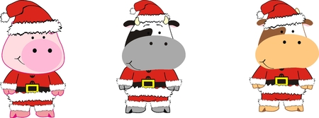 cartoon animals xmas set in vector format