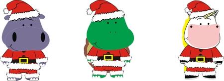 만화 동물 크리스마스 벡터 형식으로 설정 일러스트