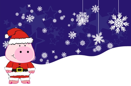 pig xmas claus cartoon background in vector format