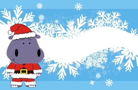 infantile: hippo xmas claus cartoon background in vector format Illustration