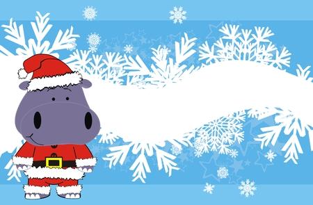 Hippopotames xmas claus caricature arrière-plan en format vectoriel Banque d'images - 8344508