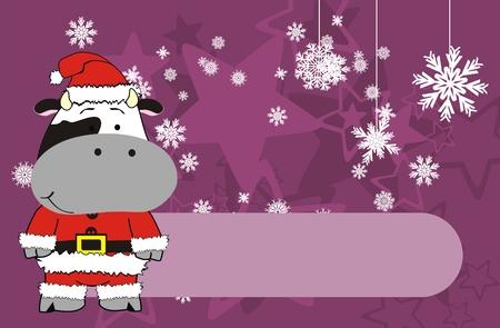 벡터 형식으로 암소 크리스마스 클로스 만화 배경 일러스트