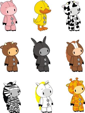 dieren cartoon set in vector-formaat zeer gemakkelijk te bewerken Stock Illustratie