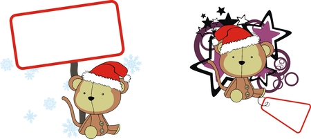 celebartion: monkey  claus cartoon copyspace in vector format very easy to edit