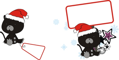 celebartion: panther  claus cartoon copyspace in vector format very easy to edit
