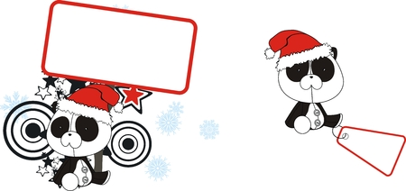 celebartion: panda  claus cartoon copyspace in vector format very easy to edit Illustration