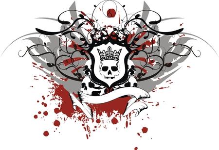 heraldic skull coat of arms in vector format Иллюстрация