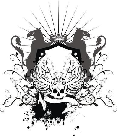 Heraldische schedel wapen in vector-formaat