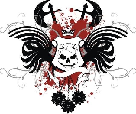 heraldic skull coat of arms in vector format Vector