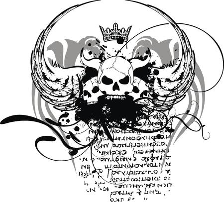 heraldic skull coat of arms in vector format Illustration
