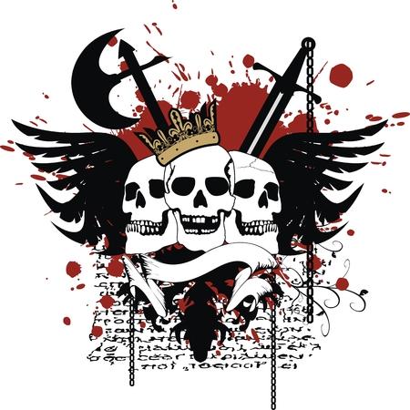 heraldic skull coat of arms in vector format Ilustracja