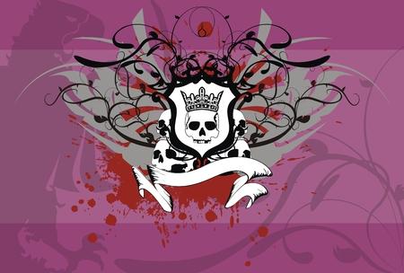 heraldic skull coat of arms background in vector format Vector