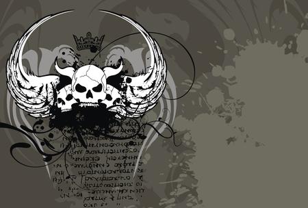 heraldische schedel wapen achtergrond in vector-formaat Stock Illustratie