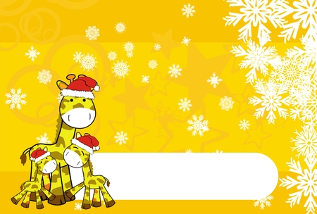 giraffe cartoon xmas background Vector