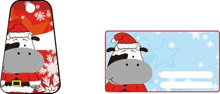 cow cartoon xmas sticker Vector