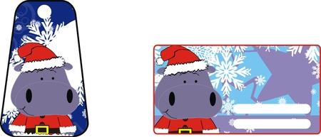 hipopotamo caricatura: Hippo dibujo animado de pegatina xmas