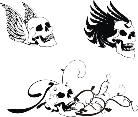 heraldic coat of arms skull Ilustração