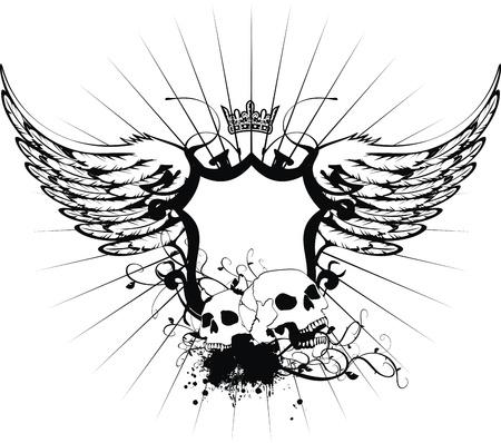 heraldic coat of arms skull Иллюстрация