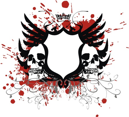 heraldic coat of arms skull 向量圖像