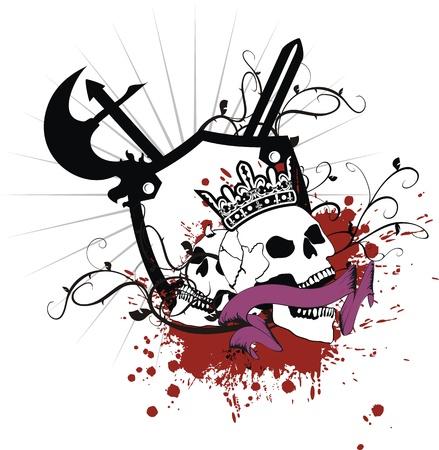 heraldic coat of arms skull Vector