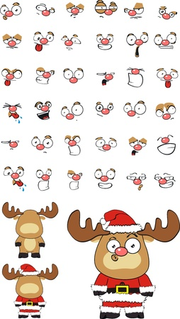 reindeer claus cartoon Vector
