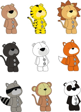 animals plush cartoon set Vector