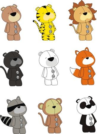 dieren pluche cartoon set Stock Illustratie