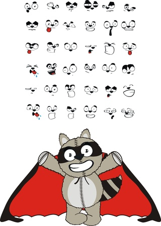 raccoon  dracula cartoon set  Vettoriali