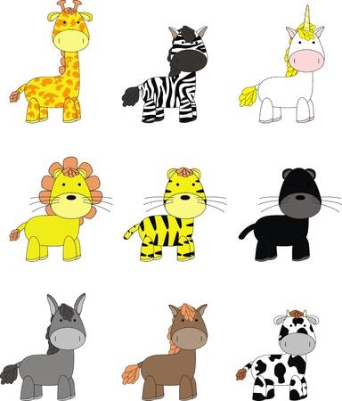 animals cartoon set  Ilustracja