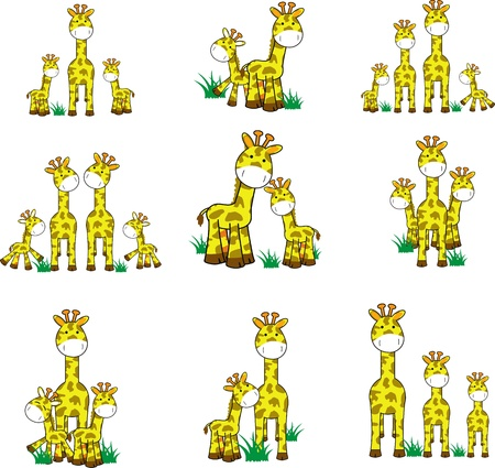 giraffe cartoon set  Çizim
