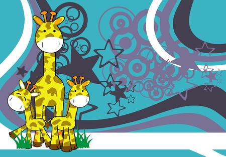 giraffe cartoon background Vector