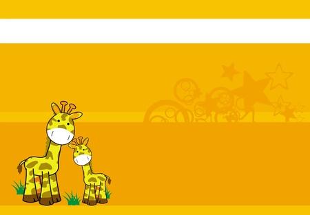 Girafe caricature arrière-plan Banque d'images - 8489634