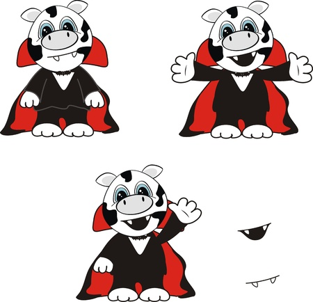 cow  dracula cartoon background in format very easy to edit