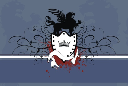 heraldic gryphon coat of arms background  Vector