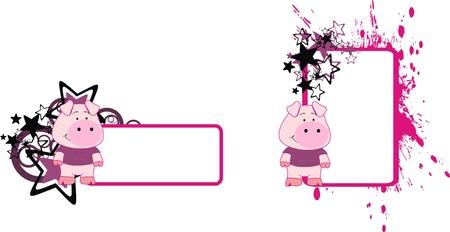 pig cartoon copy space