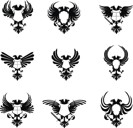 heraldic eagle double head coat of arms set  Vector