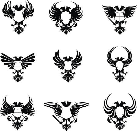 heraldische eagle dubbele hoofd wapen set  Stock Illustratie