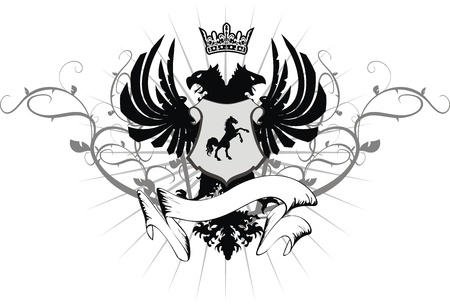 heraldic eagle double head coat of arms in format Vector