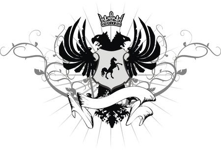 heraldic eagle double head coat of arms in format Stock Illustratie