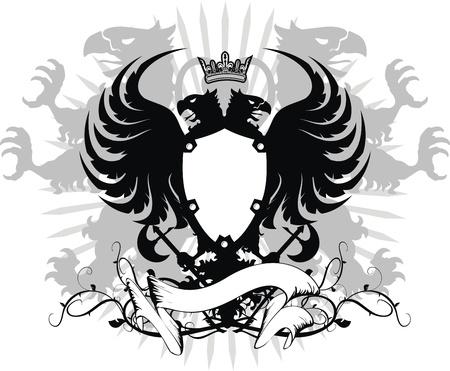 escudo de armas: �guila her�ldico doble cabeza escudo  Vectores