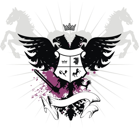 heraldic eagle double head coat of arms Imagens - 8489766