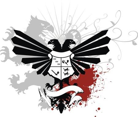heraldic eagle double head coat of arms Vector