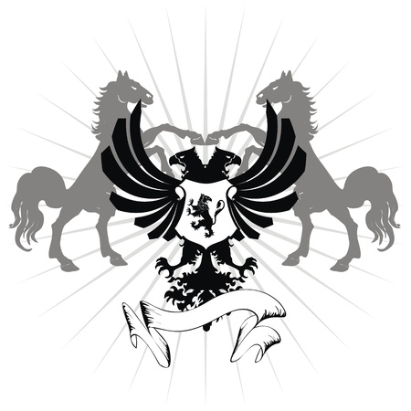 heraldic eagle double head coat of arms Иллюстрация