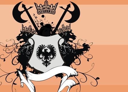 lion wings: heraldic eagle coat of arms set  Illustration