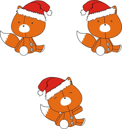fox  claus cartoon set  Illustration