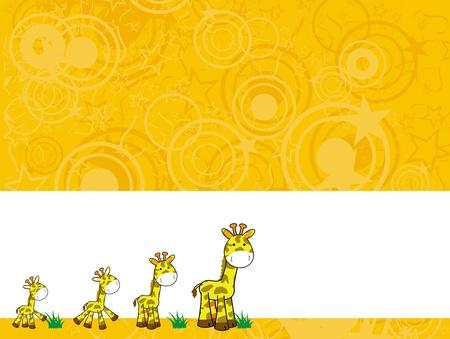 Girafe caricature arrière-plan  Banque d'images - 8495427