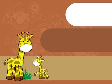 Girafe animé arrière-plan Banque d'images - 8495413