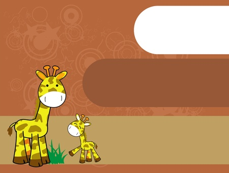 giraffe cartoon background Vector