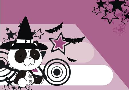 celebartion: panda  witch cartoon background